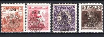 Romania 1919 - EMISIUNEA CLUJ. 4 TIMBRE EROARE SPRATIPAR DEPLASAT, P16(A1)