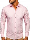 Cumpara ieftin Cămașă elegantă mâneca lungă roz Bolf 4705G