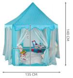 Cort de joaca pentru copii albastru , casuta castel joaca copii, Unisex, Multicolor, Textil