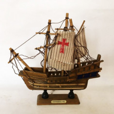 Macheta navala lemn corabie, vapor, Santa Maria 1492, veche vintage, 20x20 cm, Alta