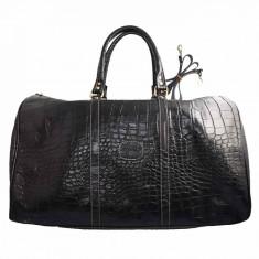 Geanta voiaj, din piele naturala, marca Desisan, 505-18-01-26, negru , marime: