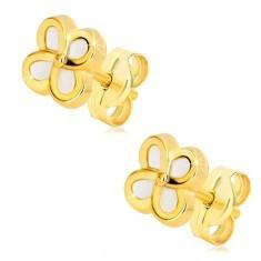 Cercei din aur galben de 14K – floare cu patru petale și suprafața perlată