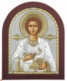 Icoana Sfantul Pantelimon Ocrotitorul Bolnavilor Argint 925 13x11 cm Cod Produs 1401