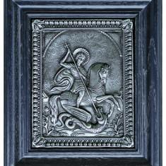 Icoane argintate, Icoana Sf. Gheorghe, dim 25cm x 29cm, cod B-02