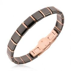 Brăţară din ceramică - elemente negre, dreptunghiulare şi dungi aurii-roz