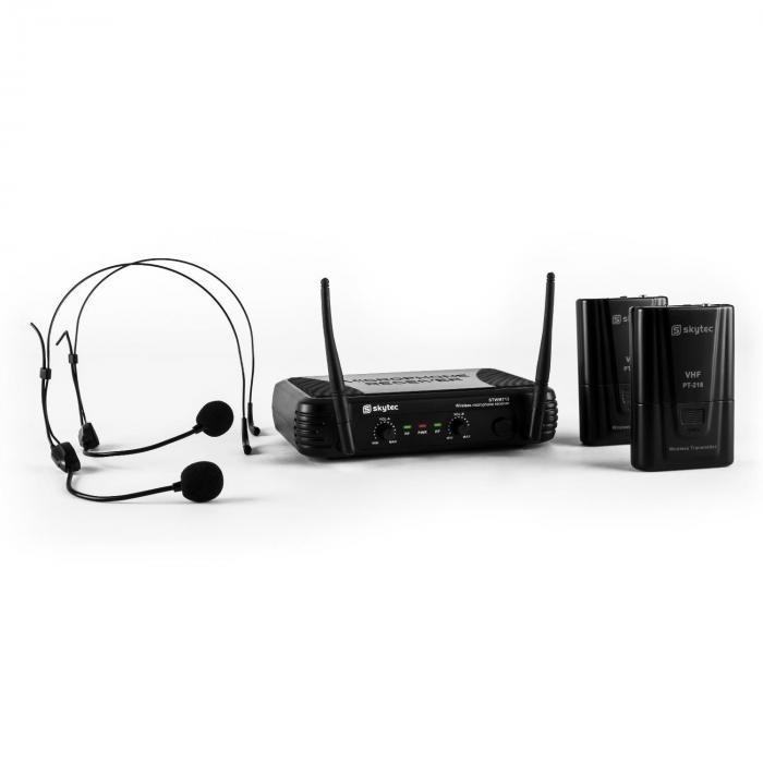 Skytec STWM712H Micro VHF Wireless microfon Set 2 x Set cu cască