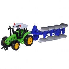 Tractor agricol de jucarie, model cu plug, verde, 36x10x13 cm