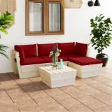 VidaXL Set mobilier grădină din paleți cu perne, 5 piese, lemn molid