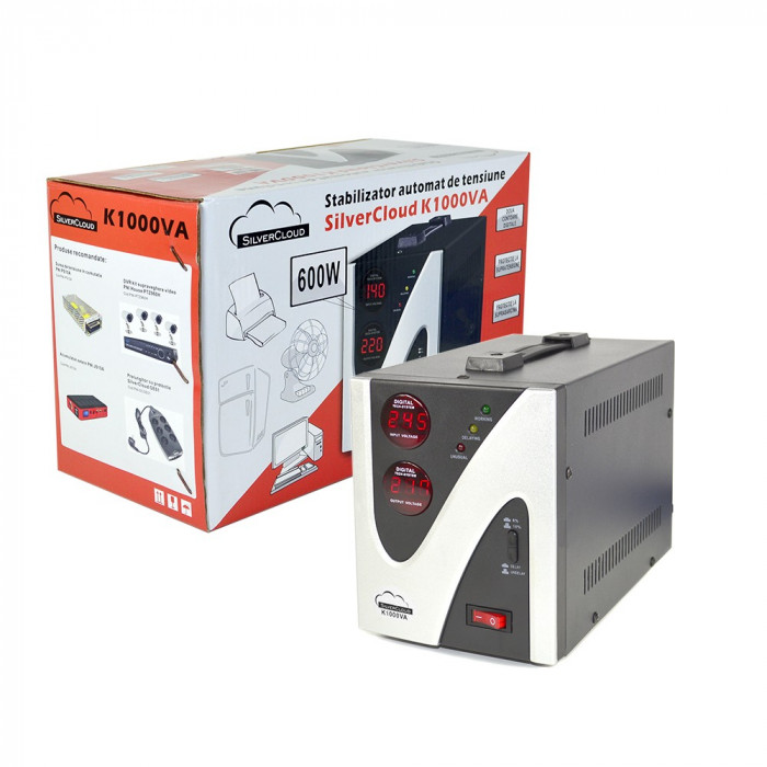 Resigilat : Stabilizator de tensiune SilverCloud 1000VA 600W