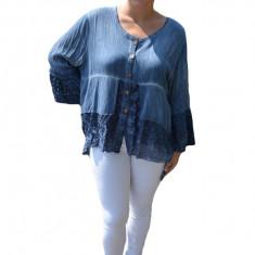 Bluza lejera Carina cu insertii de dantela, nuanta de albastru, 50, 52, 54, 56, 58