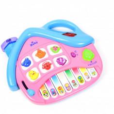 Pianina pentru copii, in forma de casa - jucarie cu sunete si lumini P88063
