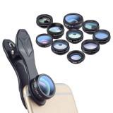 Cumpara ieftin Set lentile 10 in 1 profesionale pentru telefoane si tablete Apexel DG10 - 10 in 1, prindere filet 17mm, Fisheye, Macro 15x, Wide, Telescope 2x, Kalei