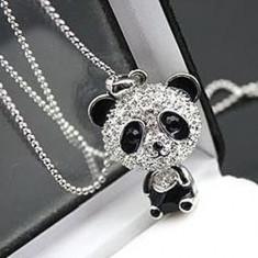 Colier fashion cu cristale si pandant ursulet panda