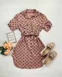 Cumpara ieftin Rochie ieftina casual stil camasa roz si neagra cu stelute noi si cordon in talie