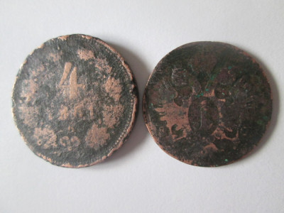 Austria lot 2 monede deteriorate:1 Kreuzer 1800 + 4 Kreuzer 1861 foto