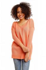 Pulover pentru femei, tricotat, scurt, asimetric, portocaliu- 30045 foto