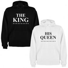 Set 2 Hanorace cuplu The King si His Queen, negru/alb