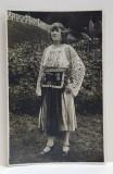 FEMEIE IN COSTUM POPULAR LA GOVORA , CARTE POSTALA ILUSTRATA , NECIRCULATA , MONOCROMA, DATATA 1927