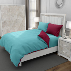 Lenjerie de pat pentru o persoana cu 2 huse de perna dreptunghiulara cu mix culoare, Duo Turquoise, bumbac satinat, gramaj tesatura 120 g mp, Turcoaz