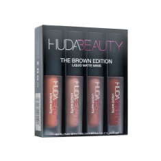Set 4 rujuri lichide mate, Brown Edition, Huda Beauty