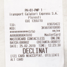 Bnk  div TCE Ploiesti - bilet de calatorie  - plata prin card - declinat