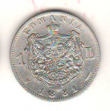 SV * Romania  1  LEU  1881  *  ARGINT .835  *  Regele Carol I     AVERS FRUMOS !