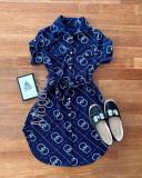 Cumpara ieftin Rochie ieftina casual stil camasa bleumarin cu cercuri si cordon in talie