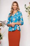 Bluza dama StarShinerS albastru-deschis eleganta scurta cu peplum din stofa neelastica cu imprimeuri florale