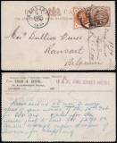 Great Britain 1894 Postcard Uprated stationery London to Ransart Belgium DB.197