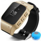 Ceas GPS Copii si Seniori iUni U100, Telefon incorporat, Pedometru, Notificari, Wi-fi, Champagne Gold + Boxa