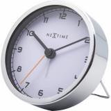 Ceas de masa NeXtime Company Alarm 9x9x7.5cm alb
