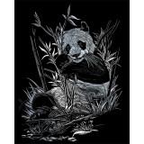 Set gravura pe folie argintie - Panda