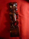 Statueta veche din lemn lacuit - zeu Polinezian , h= 27,5cm ,ochi din sidef