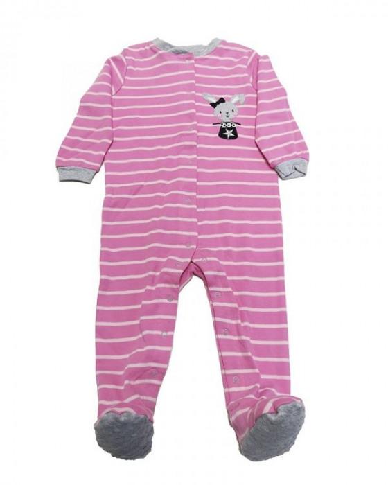 Salopeta / Pijama bebe cu dungi si iepuras Z11
