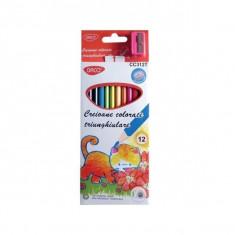 Set 12 creioane colorate triunghiulare Daco