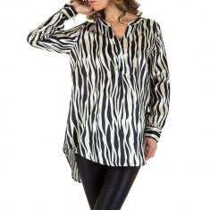 Bluza trendy, asimetrica, cu imprimeu zebra, M, S, Negru