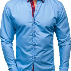 Cămașă elegantă cu mâneca lungă pentru bărbat albastră-deschis Bolf 2785