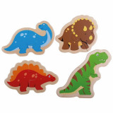 Puzzle din lemn Dinozauri, 14 x 10 cm, 4 piese, 12 luni+, Bigjigs