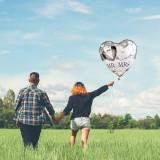 Balon folie MR&MRS, 40x44 cm, forma inimioara, aer sau heliu