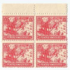 România, lot 54 cu 4 timbre fiscale, Pentru sinistrați, bloc de 4, eroare, MNH
