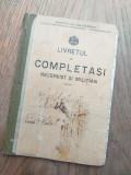 BRAILA- LIVRETUL DE COMPLETASI, REZERVIST SI MILITIAN, 1916