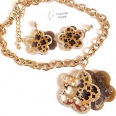 Set bijuterii dama(colier + cercei)placat  Aur galben 18k si cristale Swarovski