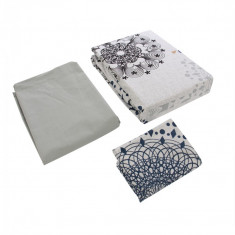 Lenjerie bumbac Grey Lace, 1 persoana, 160 x 220 cm, 3 piese