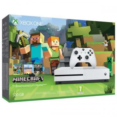 Consola Xbox One Slim 500 GB, alb + Joc Minecraft Favourites foto
