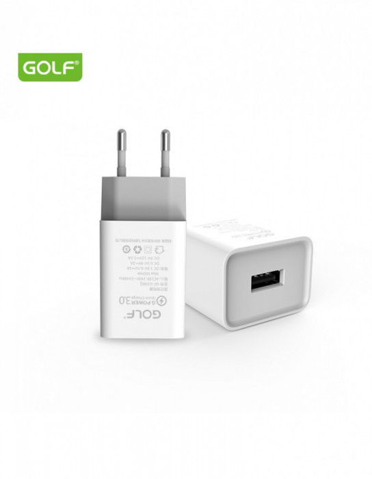 Incarcator de la retea (230v) la 1 x QC USB 18W alb FAST CHARGE Golf GF-U206Q