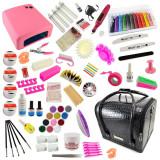 Kit Unghii False cu Gel UV si Geanta Cosmetica Manichiura - Promotie #10 + CADOU 7 Pensule Manichiura, Fraulein38