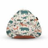 Cumpara ieftin Fotoliu Units Puf (Bean Bag) tip para, impermeabil, cu maner, 80 x 90 x 68 cm, ursi cerbi si alti prieteni