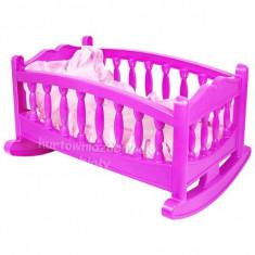 Jucarie pat pentru papusa cu balans si lenjerie roz