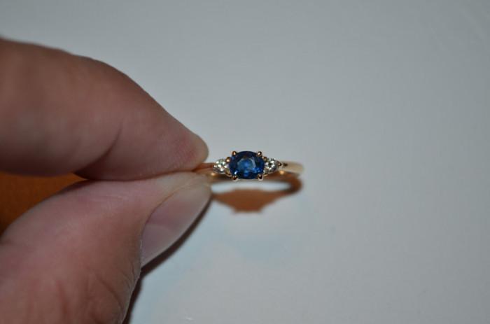 INEL AUR 18K + 2 Diamante = 0.10ct + Safir = 0.50ct - 2.3g. - Vintage !