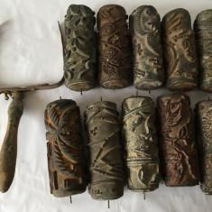 Lot 10 bucati rol de zugravit cu model + furca, vechi, vintage,15cm lungime (II)